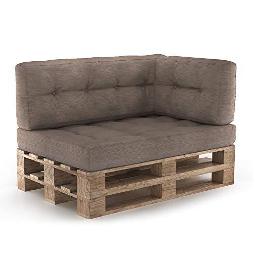 Vicco Palettenkissen Sitzkissen + Rückenkissen + Seitenkissen 15cm hoch Palettenmöbel (Sitz+Rücken+Seitenkissen, Taupe)