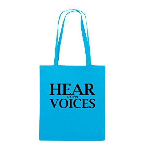 Comedy Bags - HEAR VOICES - LEGION - Jutebeutel - lange Henkel - 38x42cm - Farbe: Schwarz / Silber Hellblau / Schwarz