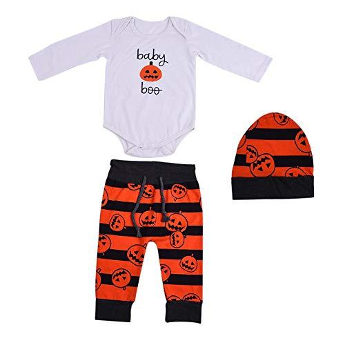 3-teiliges Set Babyspielanzug Kürbis Lampe Muster Halloween Party Babyspielanzug Hose Hut Set (Alt Jahre Crafts 3 Halloween)