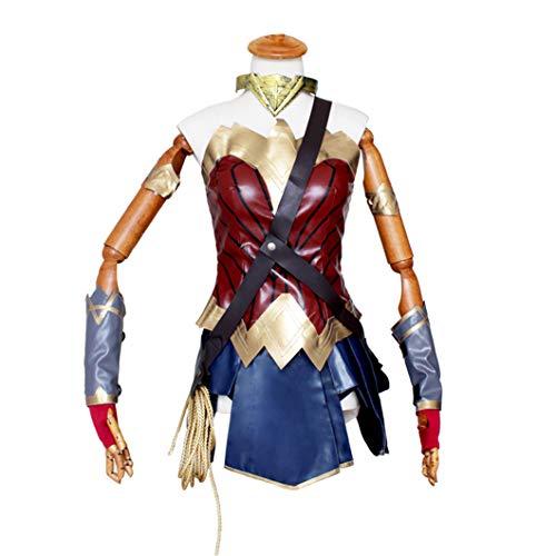 LANVERA Halloween Bühnenshow Kostüm8 teiliges Set, Wonder Woman Diana Damen Cosplay PU Leder Kleidung Multi-Colored-M