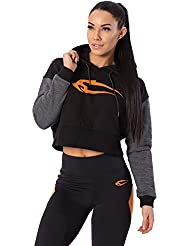 SMILODOX Kapuzenpullover Damen | Cropped Hoodie für Sport Fitness & Freizeit | Sportpullover - Sweatshirt Pulli - Pullover mit Kapuze - Langarm