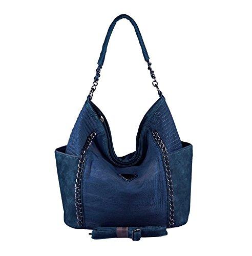 OBC ital-Design XXL Damen Stern Tasche Handtasche Canvas Baumwolle Strasssteine Gold-Silber Bowling Beuteltasche Hobo-Bag Henkel Shopper Crossover (Dunkelblau 48x30x17 cm)