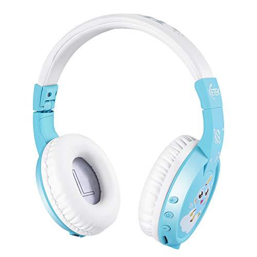 ICETEK Kinder Kopfhörer Bluetooth V5.0 Lautstärkebegrenzung 85 dB Kabellos Ergonomisch Eingebautes Mikrofon Freisprechfunktion (Blau mit Bildchen, ohne Sticker)