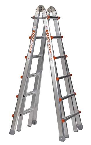 WAKÜ Teleskopleiter 1,85 m - 6,40 m, höhenverstellbar als Anlegeleiter, Bockleiter und Treppenleiter