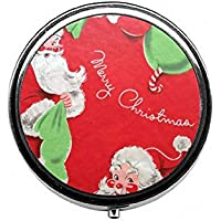 LinJxLee Merry Christmas Santa Clause Round Pill Case Pill Box Tablet Vitamin Organizer Easy to Carry preisvergleich bei billige-tabletten.eu