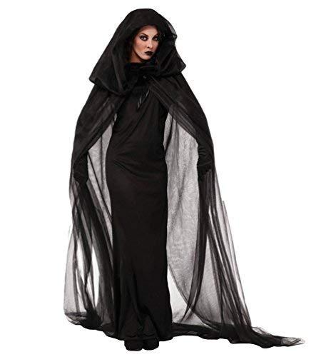 Anguang Disfraces de Halloween Mujer Vestido de Novia Fantasma Uniforme de Vampiro de la Bruja para Cosplay Party Negro XL