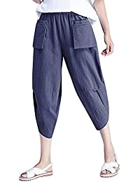Pantalones Capri Básicos Pantalon Casa Suelto Pantalón Deportivo para Mujer d90c4d7bd295