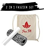 Faszien Fitness Set 2 in 1: Faszienrolle + Mini-Rolle + Baumwoll-Turnbeutel + 16seitiges Trainingsheft in Farbe + eBook