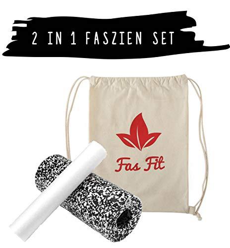 Faszien Fitness Set 2 in 1: Faszienrolle + Mini-Rolle + Baumwoll-Turnbeutel + 16seitiges Trainingsheft in Farbe + eBook