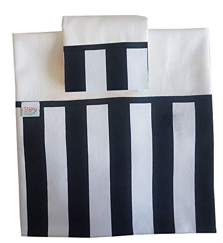 Zigozago - set lenzuola per culla con bordo a righe bianco nere in 3 pezzi in piquet di cotone. per il lenzuolo con nome selezionare il prodotto https://www.amazon.it/dp/b07l9gxb4f