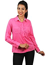 Old Khaki Solid Cotton Casual Partywear Shirt Women's Girls Shirt with Swaroski Stones on The Double Pockets in Pink Color with Contrast & Free Shipping