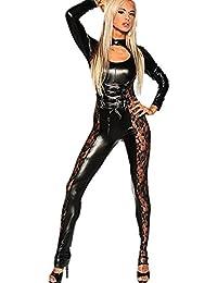 Ohyeah Mujer Jumpsuit Piel Sintética Elástico Body de Inserto de encaje talla única, ...