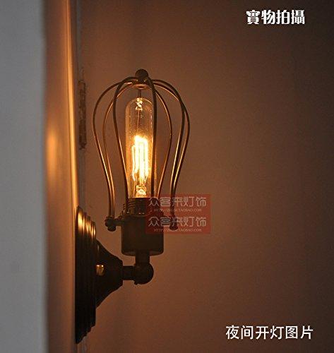 Thomas Beleuchtung Wand (LIYAN minimalistische Wandleuchte Wandleuchte E26 /E27 Edison die Glühbirne American Wind kleinen Käfigen Wandleuchte Schlafzimmer Wand lampe Thomas Edison, Schwarz)