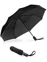 Eono Essentials - Parapluie de Voyage Compact Ultra-Robuste avec revêtement en Teflon, voilure renforcée, Manche Ergonomique et système d'ouverture/Fermeture Automatique