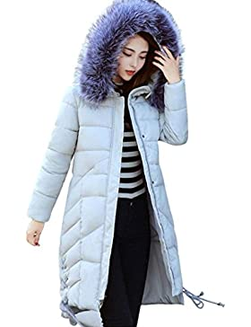 [Patrocinado]Ropa de abrigo parka, SHOBDW moda mujer invierno chaqueta caliente de algodón de espesor largo abrigo delgado