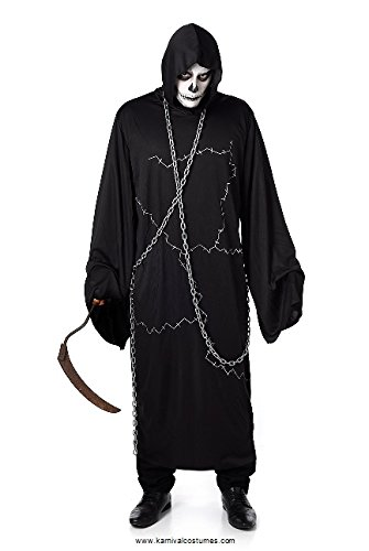 Ghostly Ghoul Mens Fancy Dress Halloween Sensenmann Scary Horror Erwachsene Kostüm