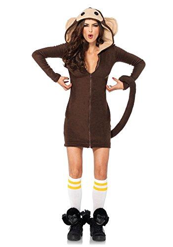 Kostüme Kapuzen Leg Avenue (Cozy Monkey Damen-Kostüm von Leg Avenue Affe Affenkostüm warm Straßenkarneval,)