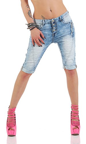 4508 Fashion4Young Sexy Damen Jeans Bermuda Hose Boyfriend Denim Shorts Hotpants Caprijeans (S=36, blau)