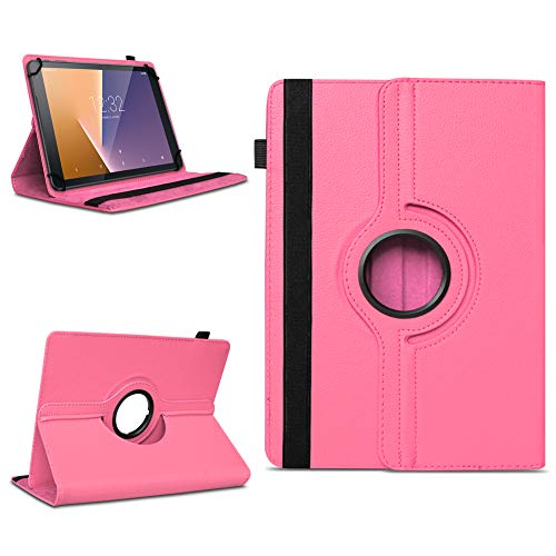 Robuste Tablet Schutzhülle für Vodafone Tab Prime 6 / 7 aus Kunstleder Hülle Tasche Standfunktion 360° Drehbar Cover Case Universal , Farben:Pink