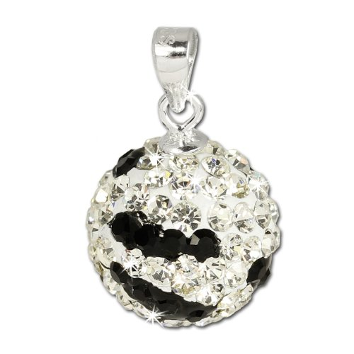 SilberDream Glitzer Anhänger Kugel Zebra weiß/schwarz Zirkonia Kristalle 925 Sterling Silber Kettenanhänger für Kette oder Halskette GSH302 - Zebra Liege