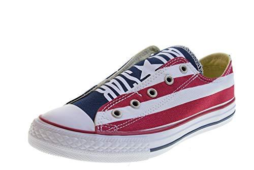 Converse 660992C Sneaker Bambino blu con bandiera americana, WHITE NAVY, 36, Converse
