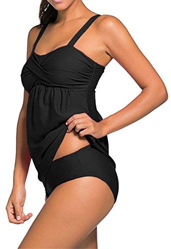 EmilyLe Damen Sportlich Tankini Top Bandeau Bikini Sets Zwei Stück Beachwear Gepolstert Badeanzug Schwarz