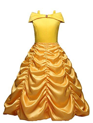 LCXYYY Mädchen Märchen Prinzessin Belle Falten Kostüm Karneval Verkleidung Party Kleid Cosplay...