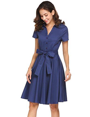 L'AMORE Damen Hemdblusenkleid Elegantes Blusenkleid Sommerkleid Kurzarm mit Gürtel Schleife Partykleider Knielang aus Baumwolle