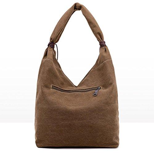Honeymall Weinlese Streifen Hobo Tasche Leinwand Einkaufstasche Handtasche(Grau) Grau
