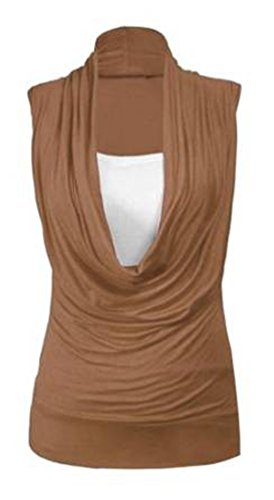 Neu Damen Wasserfallausschnitt Geraffte Halsausschnitt Contrast Einsatz Damen Ärmellos Stretch Langes Top T-Shirt Top Braun - Dunkelbraun