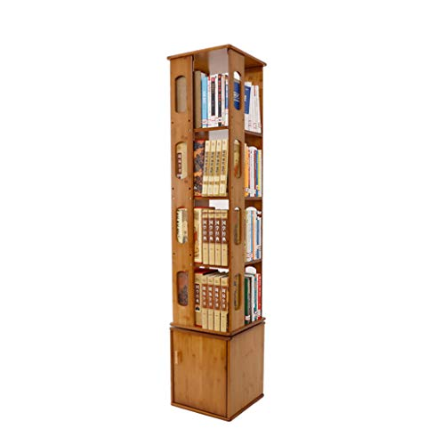 LIAN Drehbares Bücherregal 360º, Wohnzimmer-Bambusbücherregal-Moderne unbedeutende...