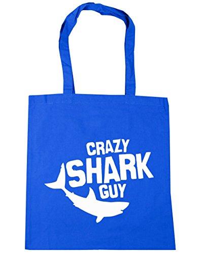 hippowarehouse-crazy-shark-guy-tote-shopping-gym-beach-bag-42cm-x38cm-10-litres