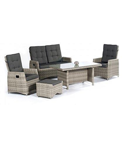 Sonnenpartner Loungegruppe Roseville von Sunny SMART, Poly-Rattan Grey-White, Lounge für 4...