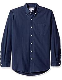Amazon Essentials - Camisa Oxford a cuadros de manga larga con bolsillo para hombre