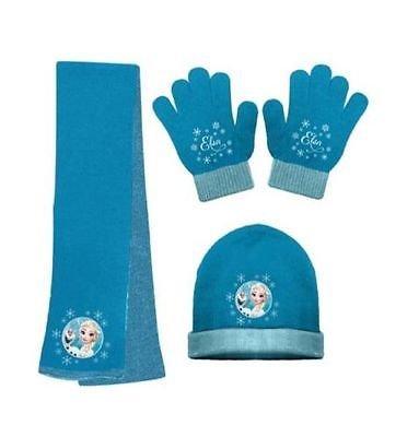 Disney Mädchen Frozen Elsa & und Anna Mütze Schal Handschuhe Set von 3Lizenzware blau