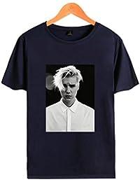 Justin Bieber Gesicht gedruckt Kurzarm-Rundhalsausschnitt Baumwolle T-Shirt