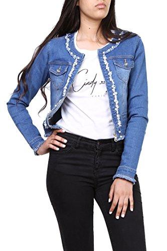 Cindy H Damen Blau Jeansjacke Stretch Denim Skirt mit Perlen Größe 38 e73615b4fd