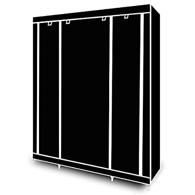 Triple Canvas Wardrobe with Clothes Rail Shelves Bedroom Storage Furniture - cheap UK light store.