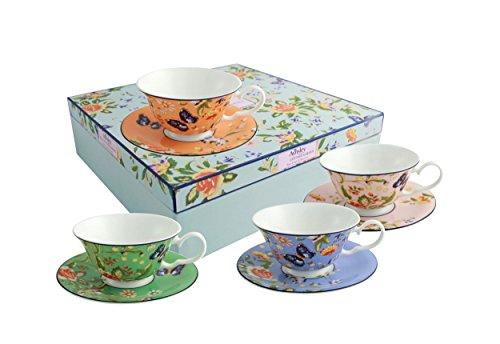 Cottage Garden Windsor Teetassen und Untertassen-Set, Mehrfarbig