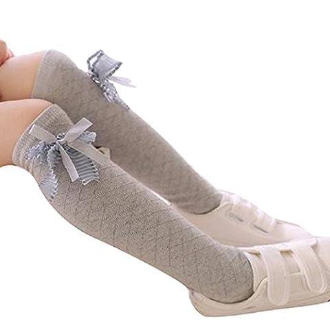 Kolylong® Kinder Mädchen Elastizität Baumwollmischung Streifen Kniehohe Socken (Grau) (Kniehohe Slippers)