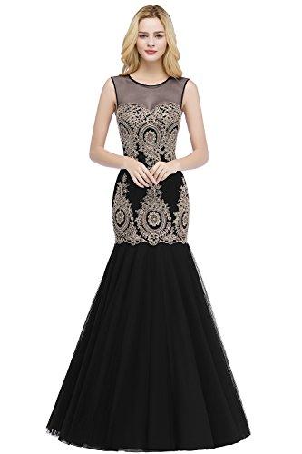 Damen Elegant Meerjungfrau Abschlusskleid Abikleid mit Blumenstickerei lang schwarz 32
