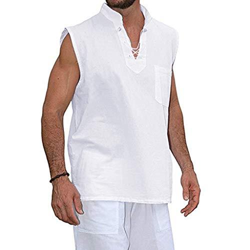 BHYDRY Mode für Männer Sommer Slim Fit Freizeit 4 Farben Kurzärmliges Hemd aus Baumwolle und Leinen (X-Large,Weiß) -