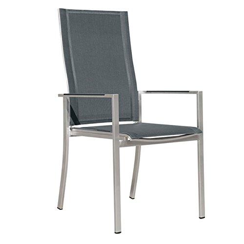OUTLIV. Denver Stapelsessel verstellbar Edelstahl/Textilene silber-schwarz Stuhl Garten
