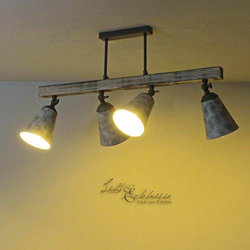 Raffinierte Deckenleuchte in Shabby Weiß Grau gemustert Vintage Stil 4x E27 bis zu 60 Watt 230V aus Metall & Holz Küche Esszimmer Lampe Leuchten innen