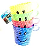 #6: Home Hacks 4 Pack Plastic Children's Smiley Face in Colour Mug / Return Gift for Birthday Parties (Set of 4)