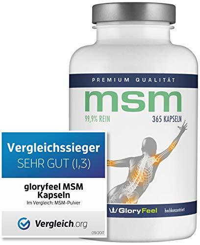 Der VERGLEICHSSIEGER 09/2018* - 365 MSM Kapseln Laborgeprüftes MSM-Pulver (Methylsulfonylmethan) Plus Vitamin C - Organischer Schwefel Ohne Magnesiumstearate Hergestellt in Deutschland