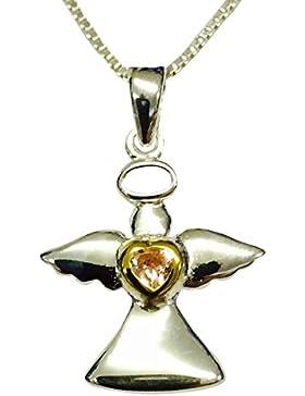 Sterling Silber & Vergoldet Kindes Schutzengel Geburtsstein Halskette–Rosa Cubic Zirkonia–Oktober