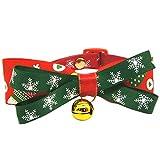 createjia Pet Christmas Bow Ties Krawatte Verstellbarer Halskragen für Hunde und Katzen Ferienzeit Party Hundehalsbänder Rot Mit Schönen Glöckchen