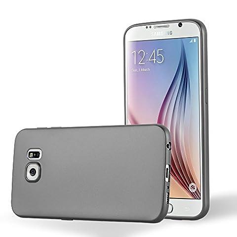 Cadorabo - Ultra Slim TPU Gel (silicone) Coque Métallique Mat pour Samsung Galaxy S6 - Housse Case Cover Bumper en METALLIC-GRIS