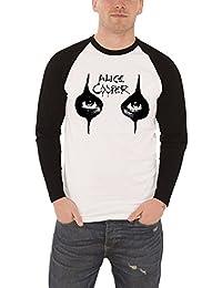 Alice Cooper T Shirt Herren Weiß Eyes Makeup Logo Nue offiziell Baseball T shirt